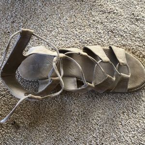 Tanish gray old navy tie up sandals